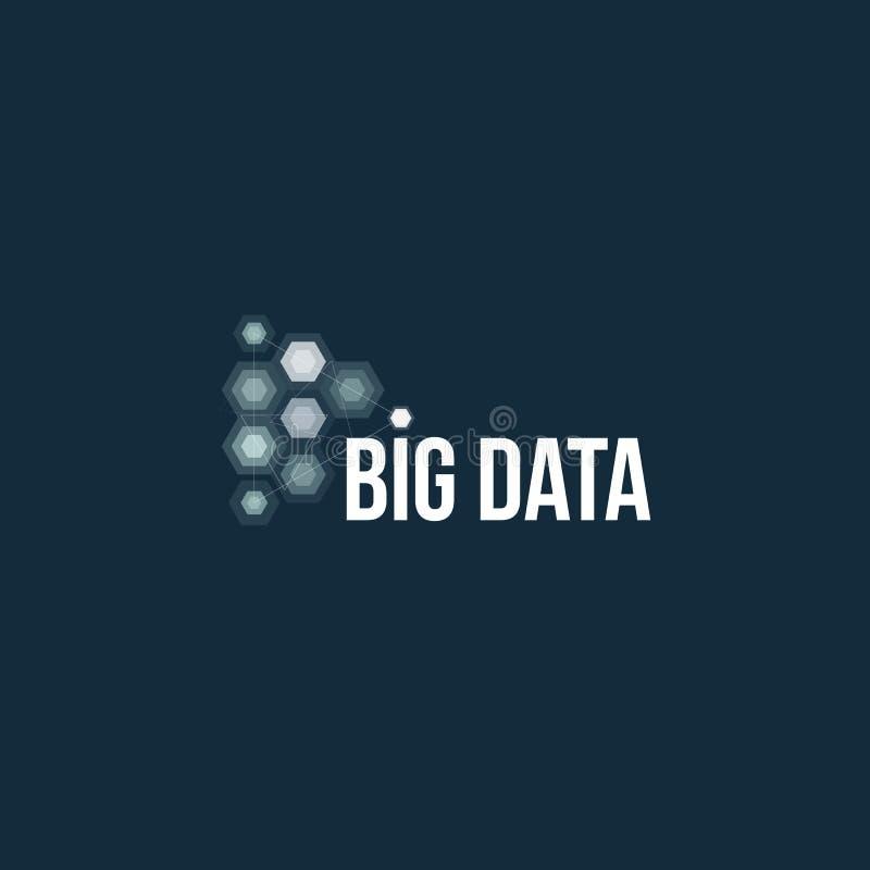 Duży baza danych wektoru emblemat Dane sortuje geometryczną ikonę Ewidencyjny sortuje abstrakcjonistyczny logo Technologia cyfrow ilustracja wektor