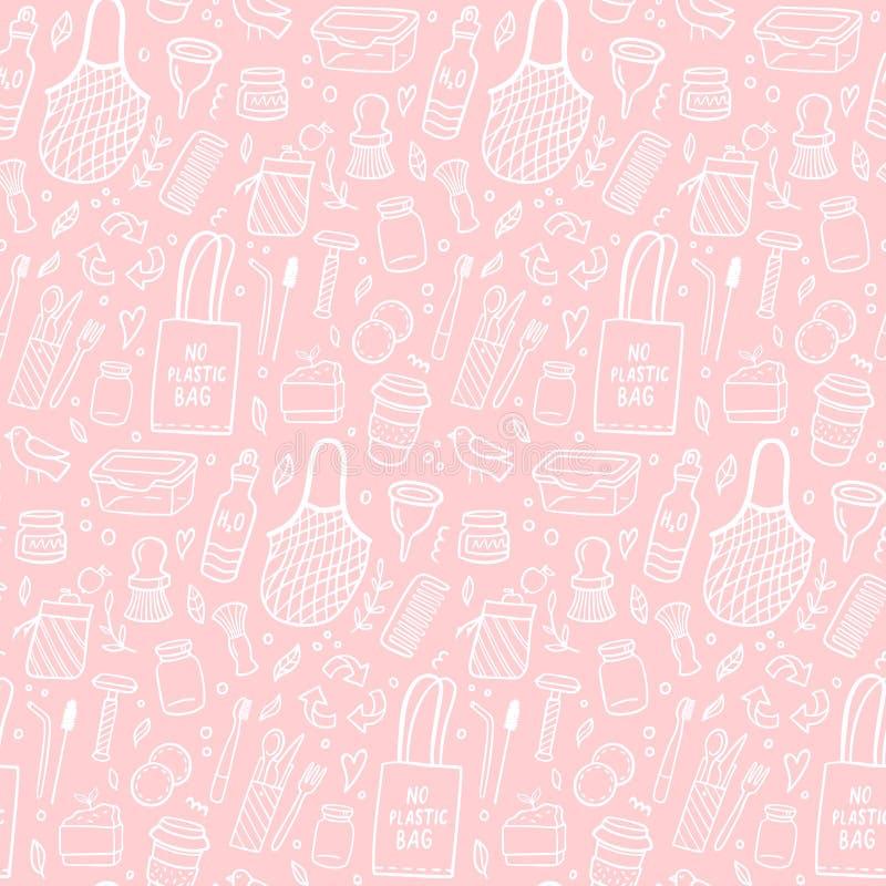 Duży bezszwowy wzór z zero jałowymi elementami na różowym tle ilustracja wektor