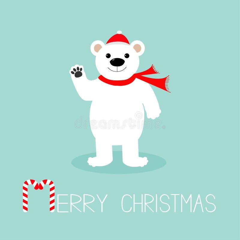 Duży biały niedźwiedź polarny w Santa Claus kapeluszu i szaliku, łapa Cukierek trzcina witamy w święta bożego karty wesoło niebie ilustracja wektor