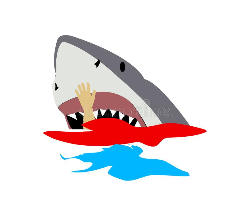 Duży biały rekin je mężczyzna ilustracji