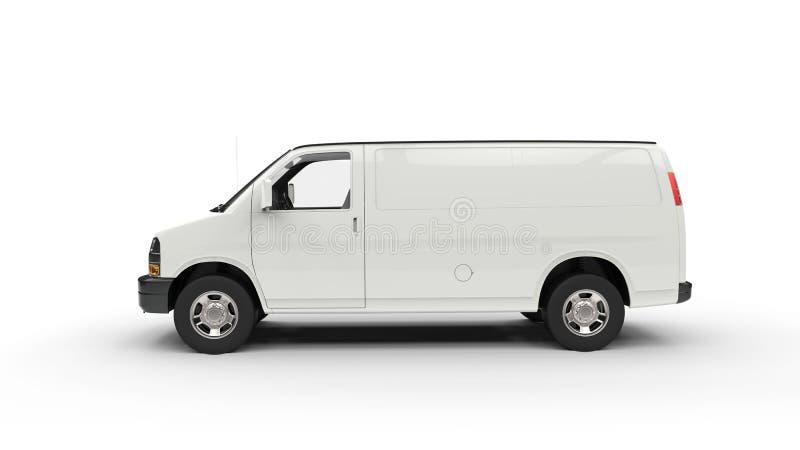 Duży Biały Van - Boczny widok zdjęcie stock