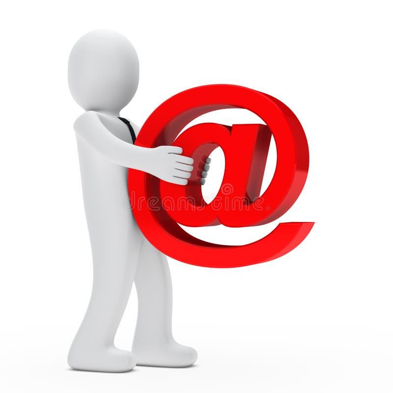duży biznesmen niesie emaila znaka ilustracja wektor