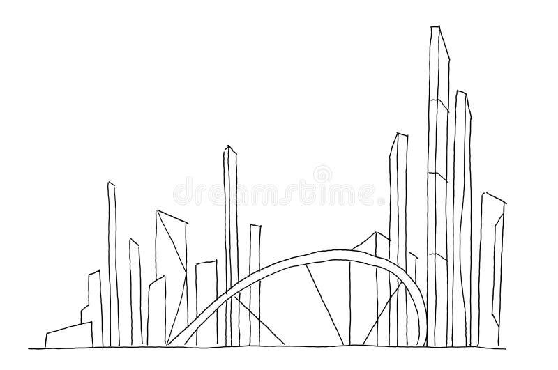 Duży bridżowy miasto drapacza chmur nakreślenie Ręka rysująca wektoru zapasu kreskowa ilustracja Budynek architektury przyszłości ilustracja wektor