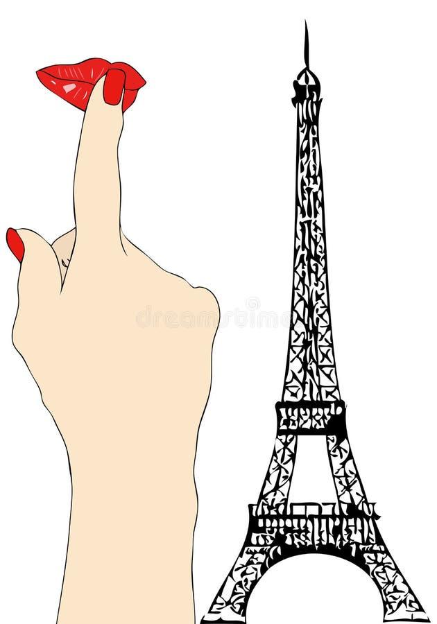 Duży buziak od Paryż ilustracja wektor