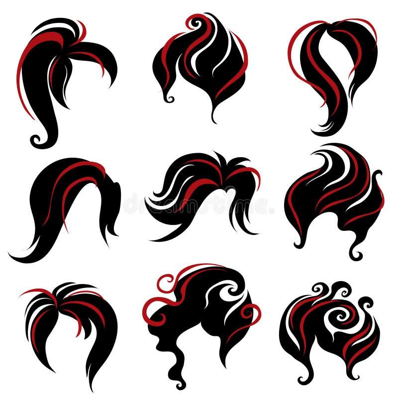 duży czarni włosy ustalona tytułowania kobieta ilustracji