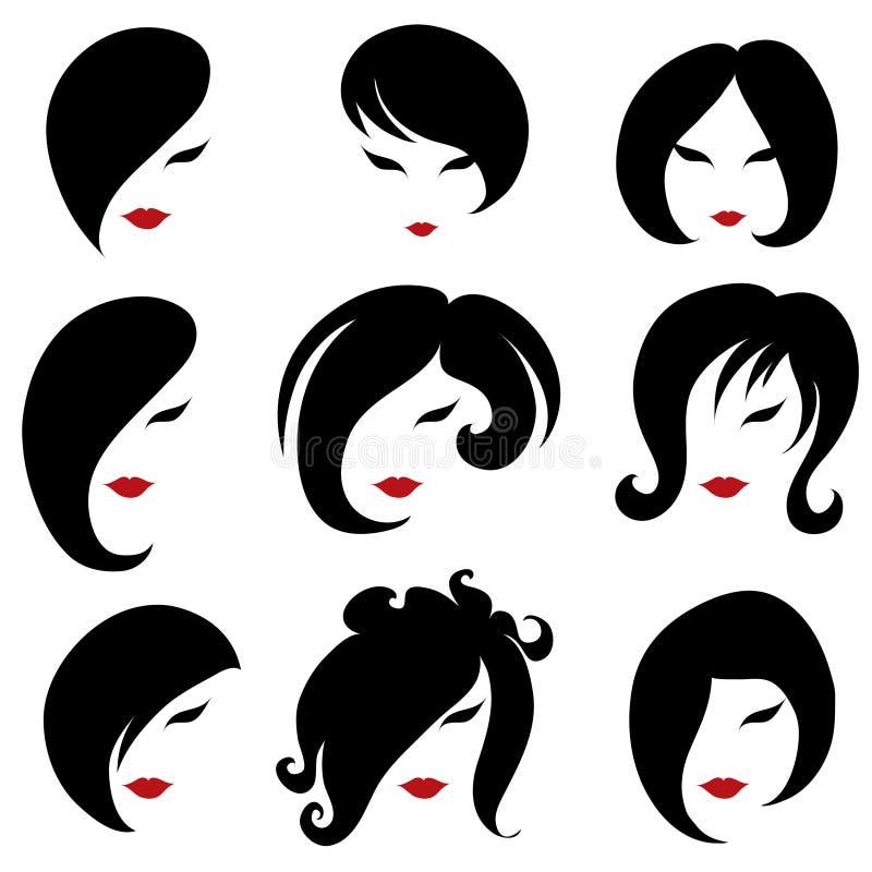 duży czarni włosy ustalona tytułowania kobieta ilustracja wektor