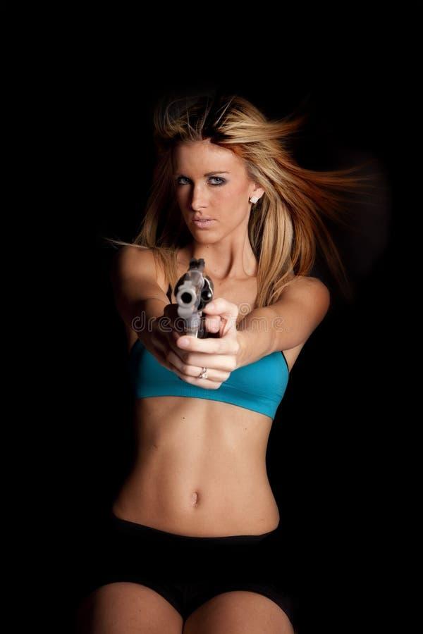 duży czarny błękit pistoletu kobieta zdjęcie stock