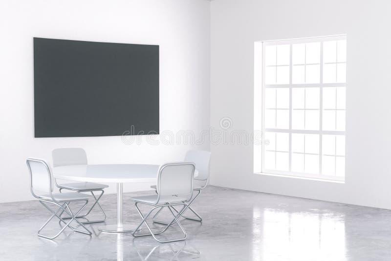 Duży czarny plakat w białym wnętrzu ilustracji