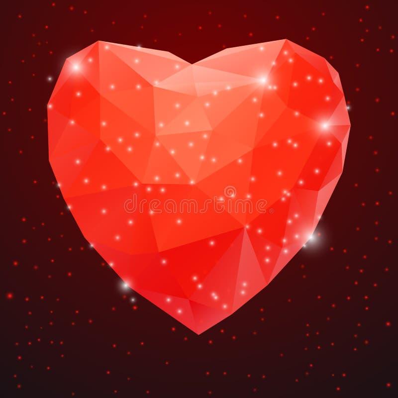 Duży Czerwony Błyszczący Diamentowy serce royalty ilustracja