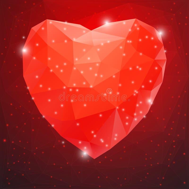 Duży Czerwony Błyszczący Diamentowy serce ilustracja wektor