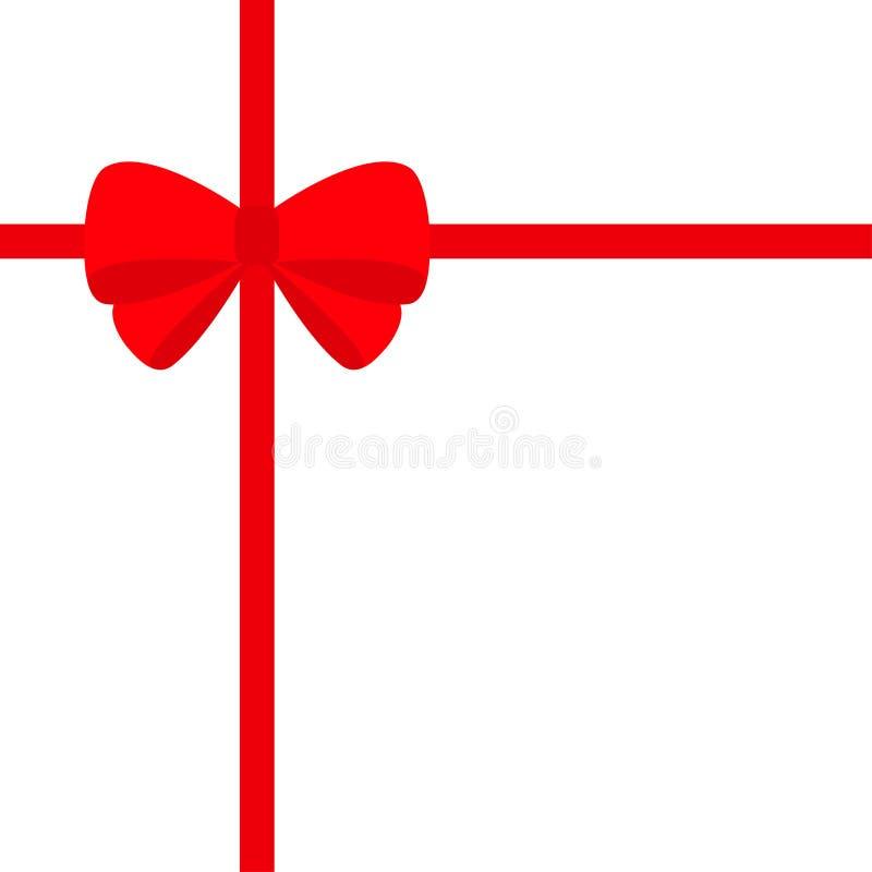 Duży czerwony faborek z boże narodzenie łęku ikoną Prezenta pudełka dekoraci element Płaski projekt Biały tło odosobniony ilustracja wektor
