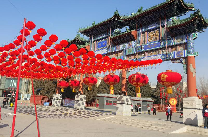 Duży Czerwony lampion dekorujący w Pekin mieście fotografia royalty free