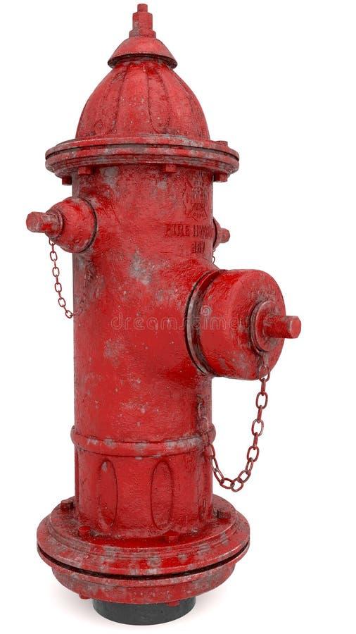Duży, czerwony, metalu pożarniczy hydrant, odizolowywający, biały tło, ilustracji