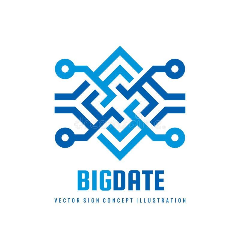 Duży daktylowy blockchain - pojęcie loga szablonu wektoru biznesowa ilustracja Przyszłościowej technologii kreatywnie znak Cyfrow royalty ilustracja