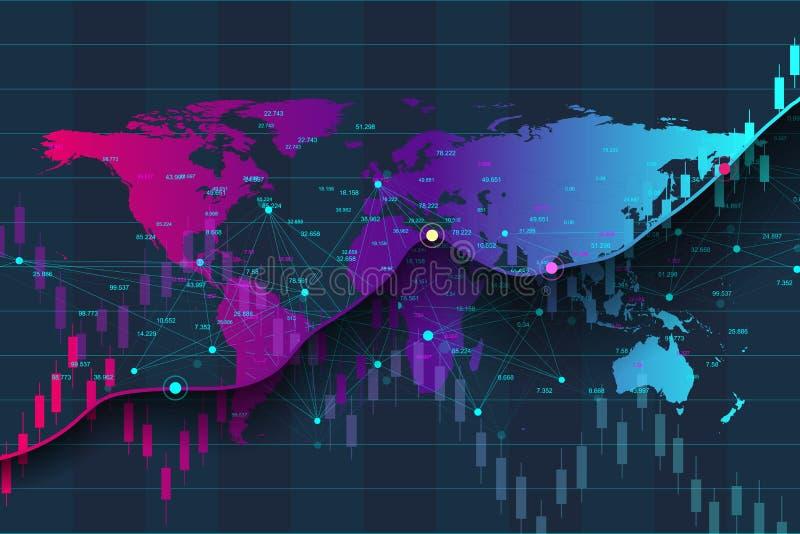 Duży dane business intelligence i analityka Cyfrowych analityka pojęcie z wykresem i mapami Pieniężny rozkładu świat royalty ilustracja
