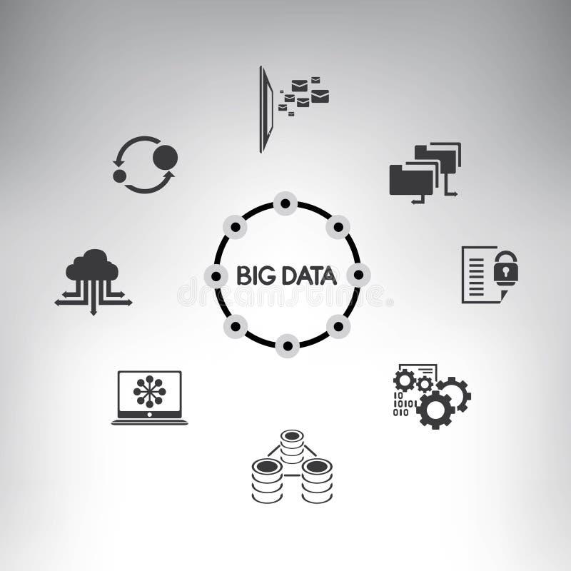 Duży dane diagram, sieci analityka infographic ilustracji