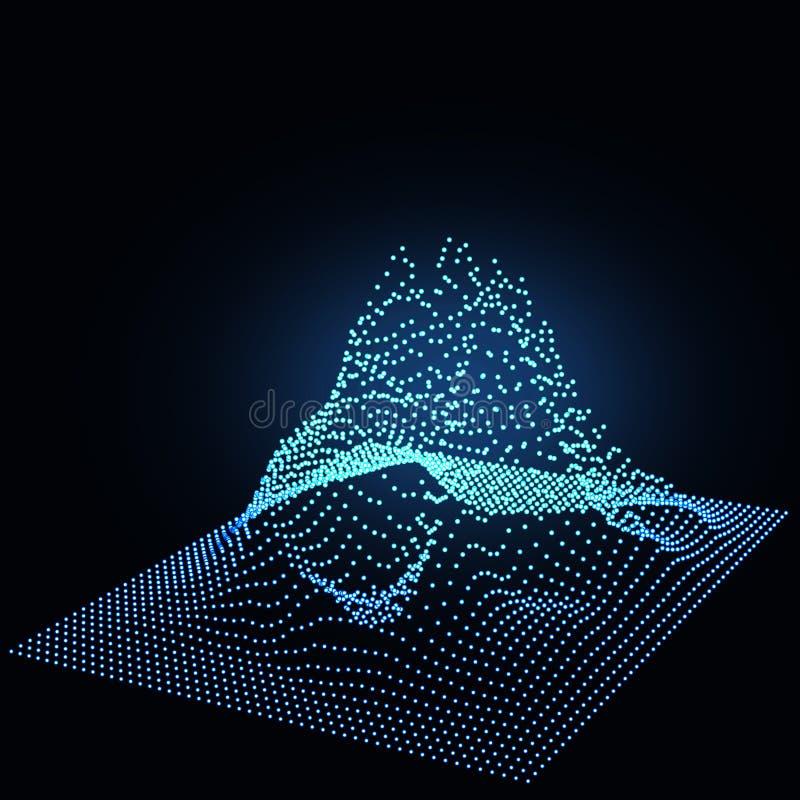 Duży Dane Dane przepływ Wireframe krajobrazu wzór Geometryczny terenu projekt ilustracja ilustracji