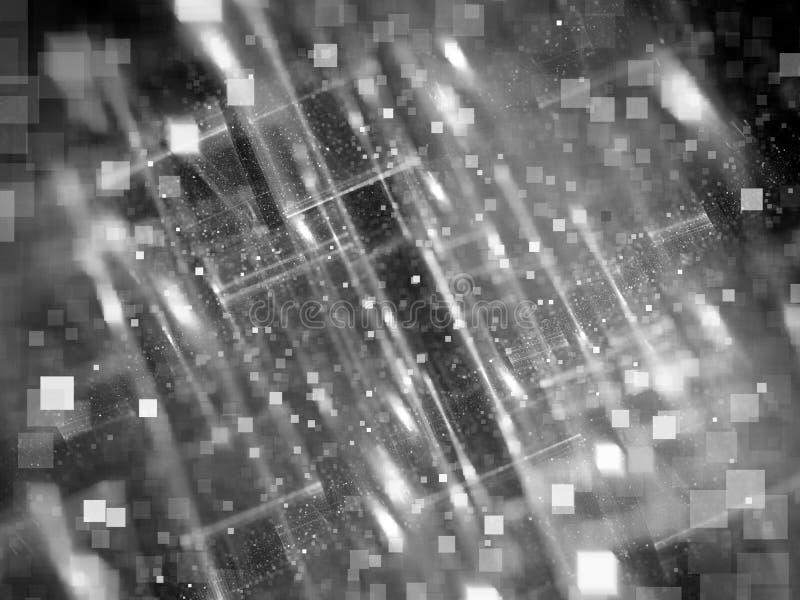 Duży dane selekcyjnej ostrości komputer wytwarzał abstrakcjonistycznego czerń i w ilustracja wektor