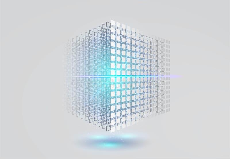 Duży dane sześcian 3D geometryczny sześcian od małych kawałków kwiecisty struktury gradient?w ilustration ?adny wektor royalty ilustracja