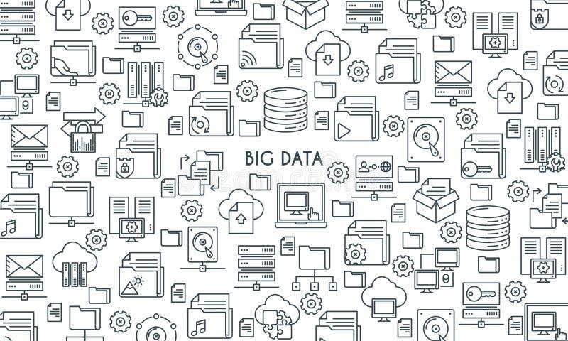 Duży dane technologii linii sztandar ilustracji