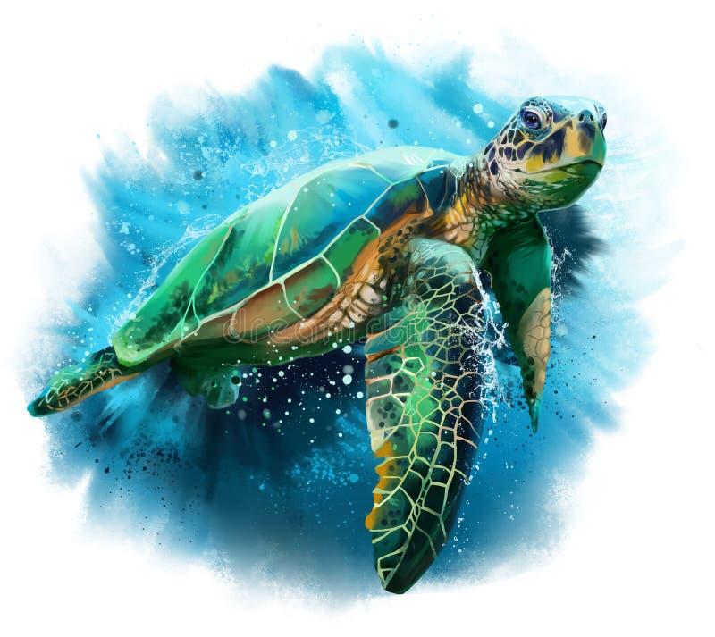 duży denny żółw royalty ilustracja