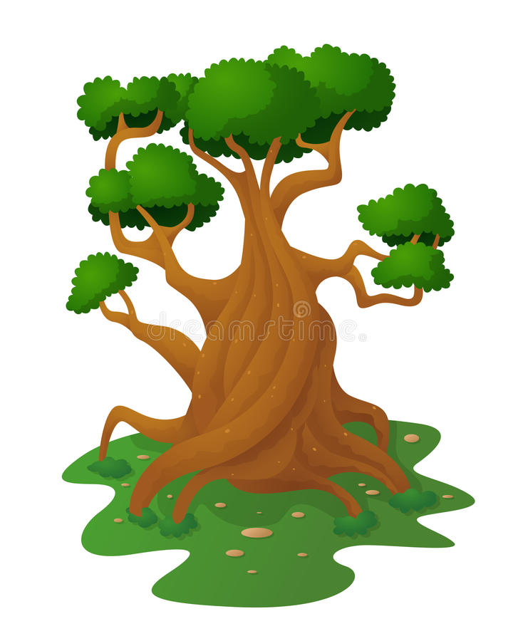 Duży Drzewny Samotny royalty ilustracja
