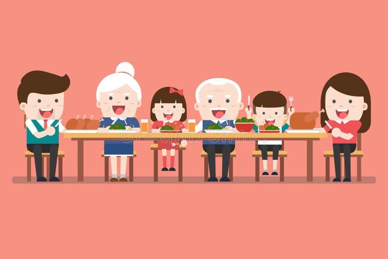 duży dzieci obiadowego łasowania rodzinna ojca matki pizza Dziękczynienie gość restauracji ilustracja wektor