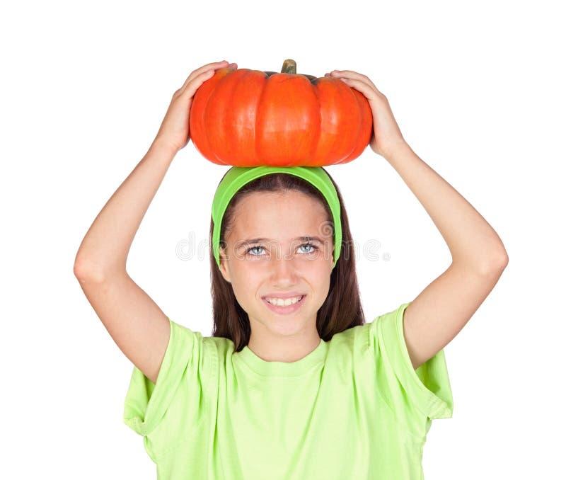 duży dziewczyny Halloween szczęśliwa bania obrazy royalty free
