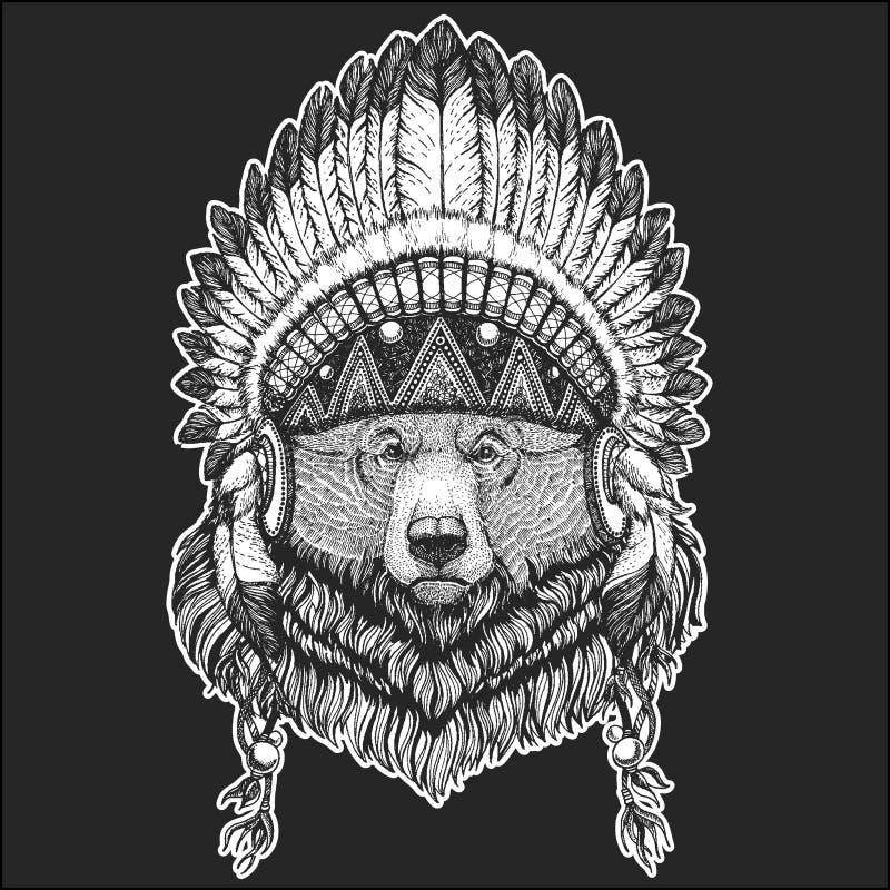 Duży dziki grizzly niedźwiedzia rodowitego amerykanina Chłodno zwierzęcy jest ubranym indyjski pióropusz z piórka Boho szyka styl ilustracji