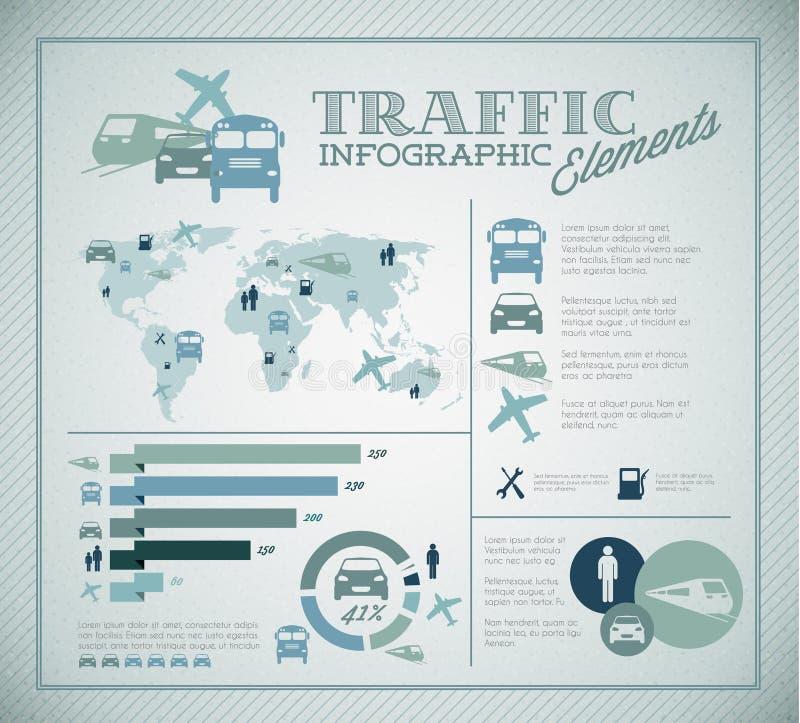 duży elementów infographic ustalony ruch drogowy wektor royalty ilustracja