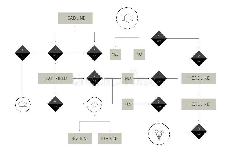 Duży flowchart Geometryczny plan Prezentaci infographics element ilustracja wektor