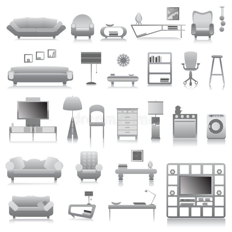 duży furnitures nowożytny set ilustracja wektor