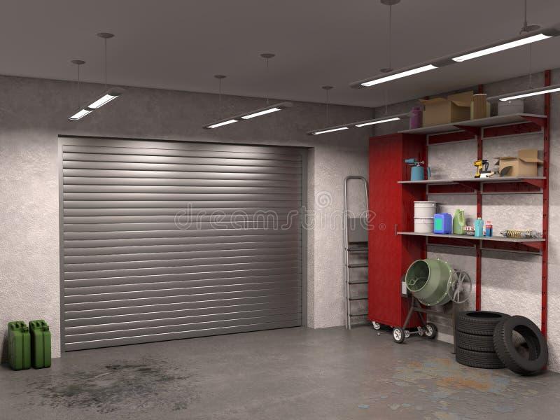 Duży garażu wnętrze z garaży drzwiami ilustracja wektor