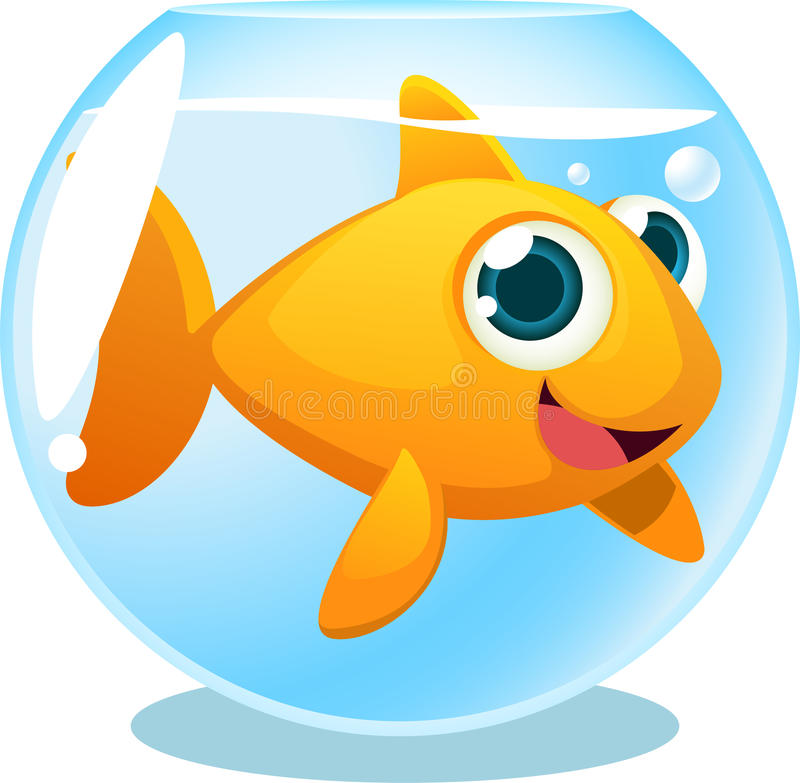 Duży Goldfish w rybim zbiorniku ilustracja wektor
