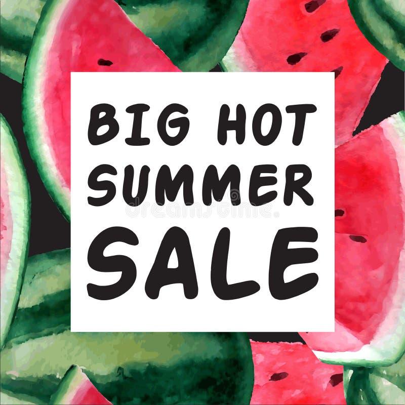 Duży Gorący lato sprzedaży sztandar Wektorowa akwareli ilustracja z ilustracja wektor