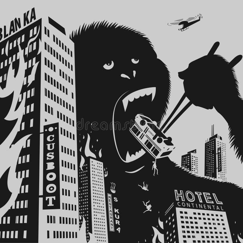 Duży goryl niszczy miasto ilustracja wektor