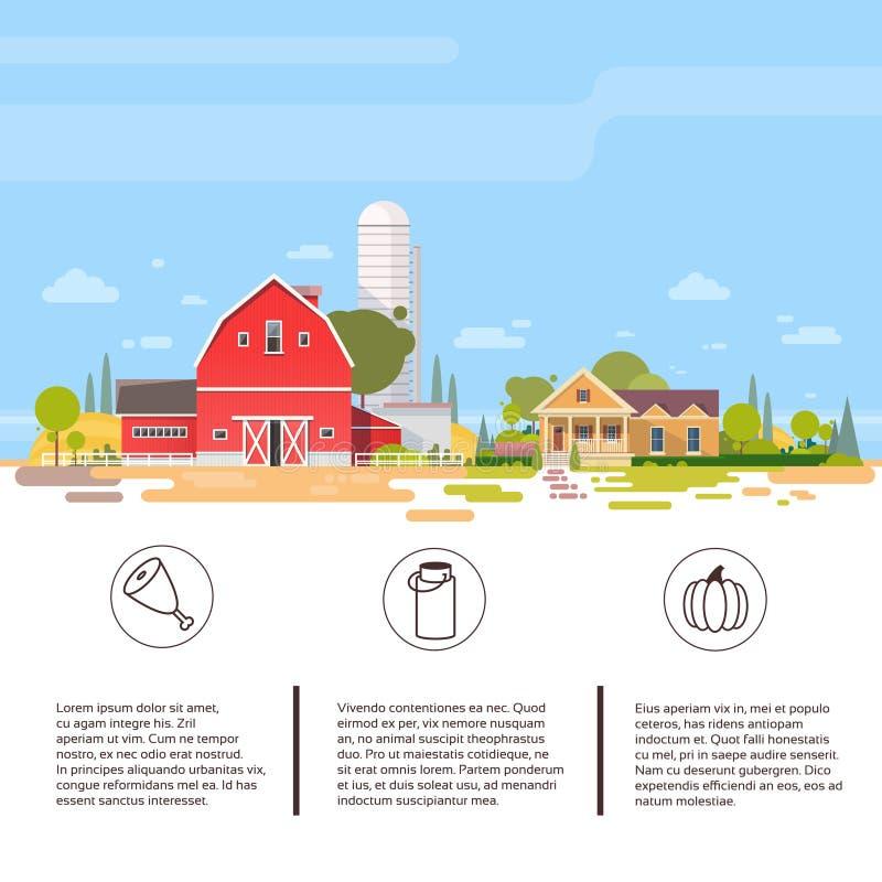 Duży gospodarstwo rolne Z domem, ziemi uprawnej wsi krajobraz ilustracja wektor