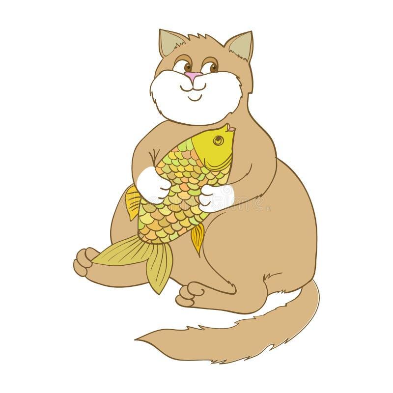 Duży gruby goldfish i kot zdjęcie stock