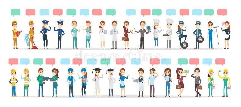 Duży grupa ludzi różna zajęcie rozmowa używać mowa bąbel ilustracji