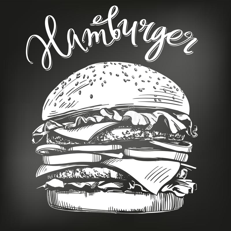 Duży hamburger, hamburgeru ręka rysujący wektorowy ilustracyjny nakreślenie kredowy menu styl retro ilustracja wektor