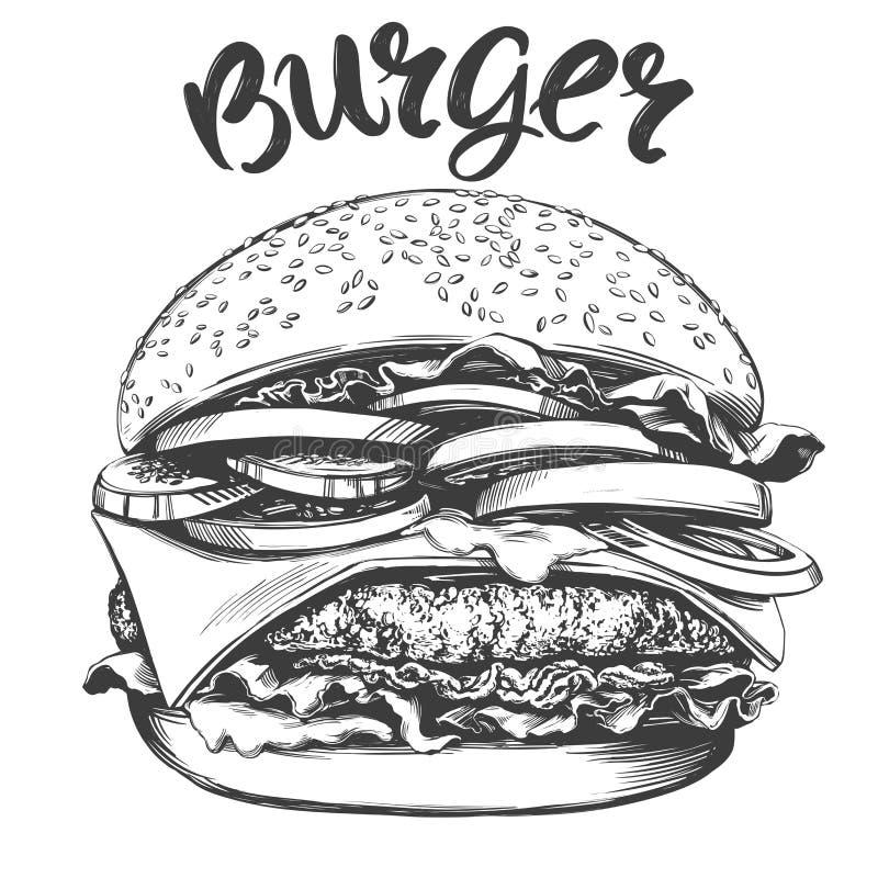 Duży hamburger, hamburgeru ręka rysujący wektorowy ilustracyjny realistyczny nakreślenie ilustracji