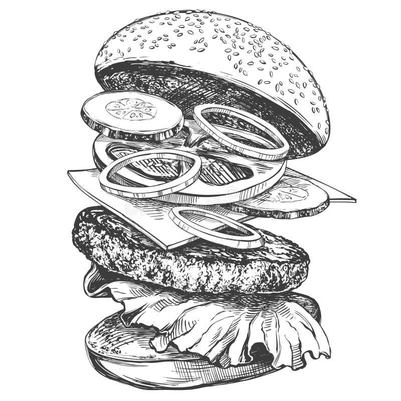Duży hamburger, hamburgeru ręka rysujący wektorowy ilustracyjny realistyczny nakreślenie ilustracja wektor