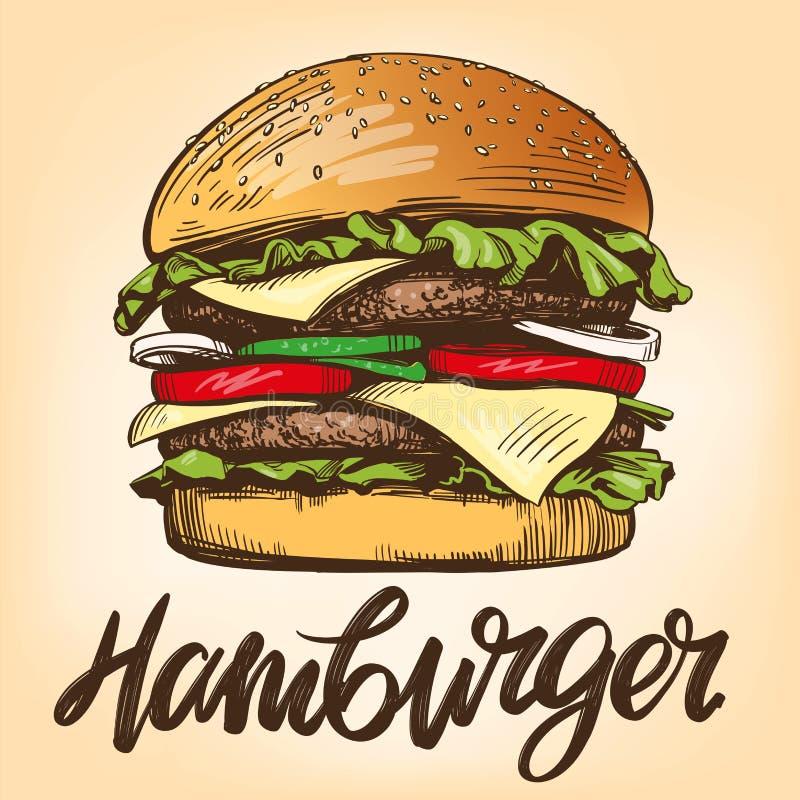 Duży hamburger, hamburgeru wektorowego ilustracyjnego nakreślenia ręka rysujący retro styl ilustracja wektor