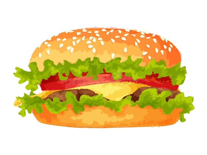 Duży hamburger na białym tle ilustracji