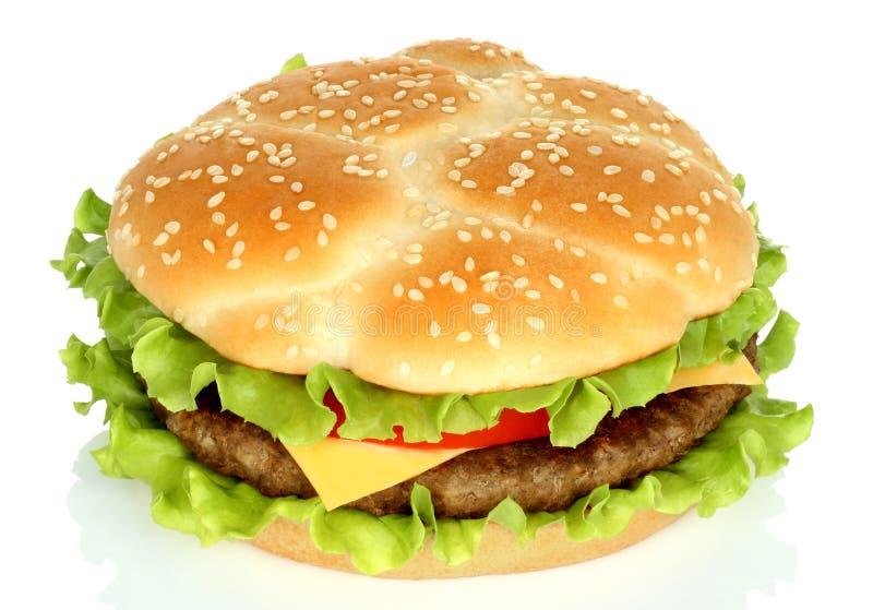 Duży hamburger na białym tle fotografia royalty free