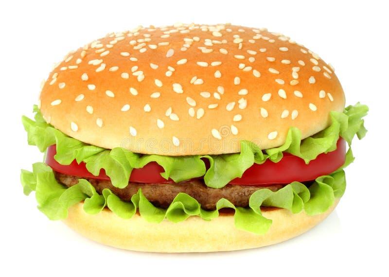 Duży hamburger na białym tle zdjęcie royalty free