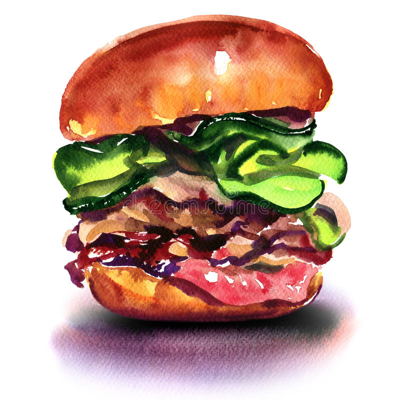 Duży hamburger odizolowywający na białym tle royalty ilustracja