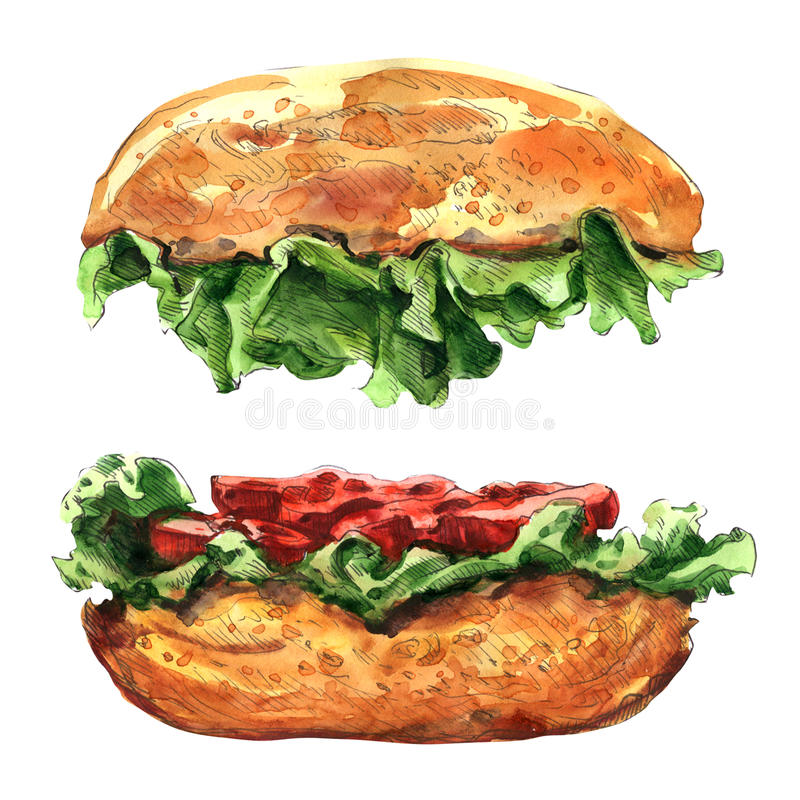 Duży hamburger odizolowywający na białym tle ilustracji