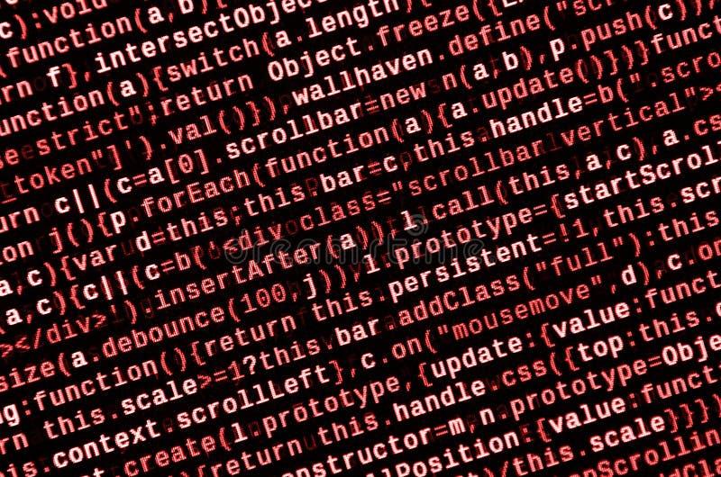 Duży internet rzecz trend i dane IT specjalisty miejsce pracy Strony internetowej HTML kod na laptopu pokazie obraz royalty free