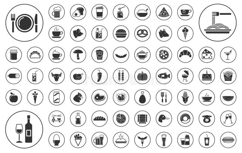 DUŻY - jedzenia i napoju ikony set ilustracja wektor